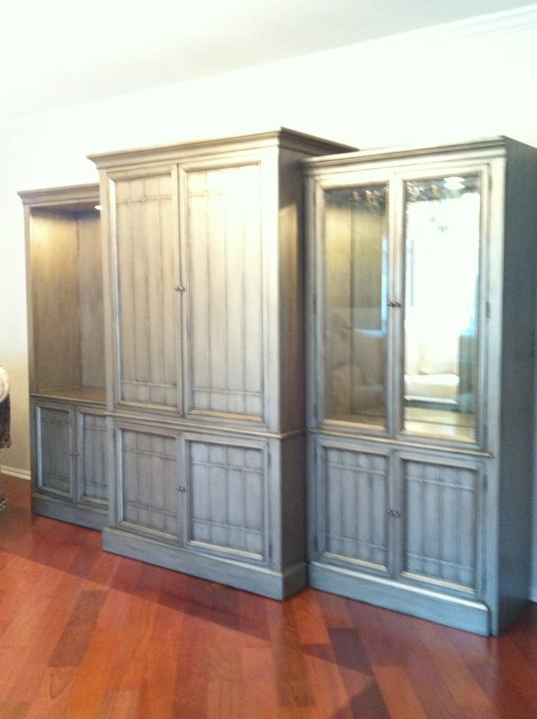 Wall Unit Refinished, Contemporary Finish, Silver Finish