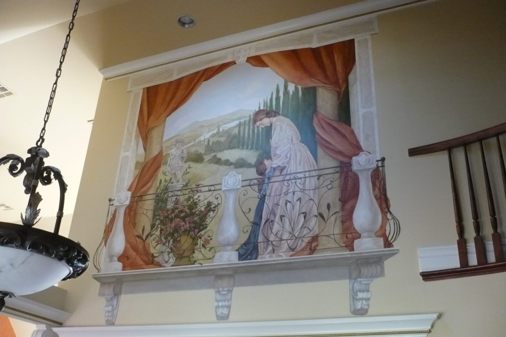 Mural of Balcony - Mother Daughter Painting