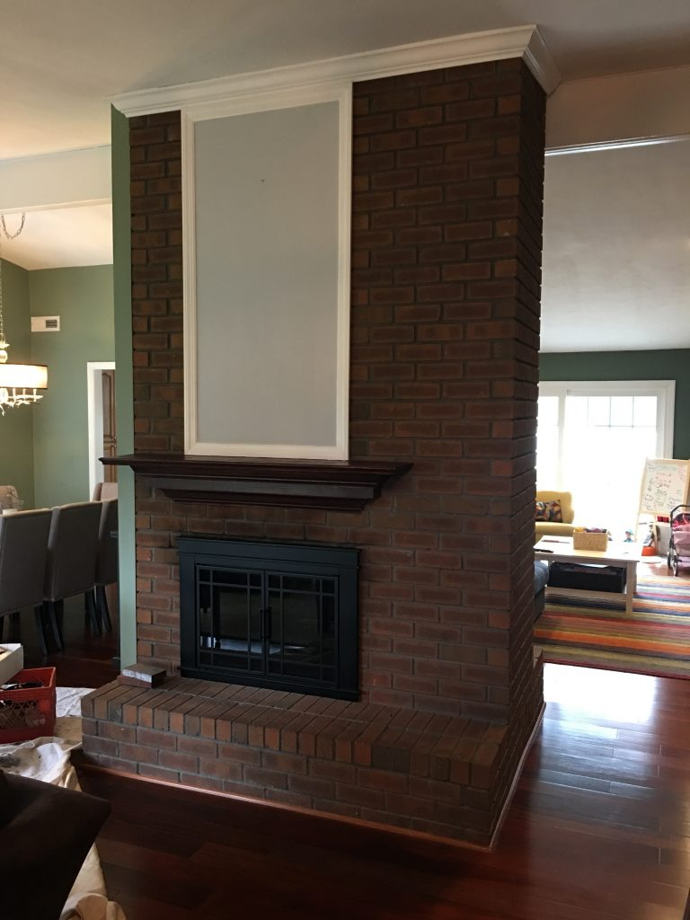 Brick Fireplace- Before - White Wash