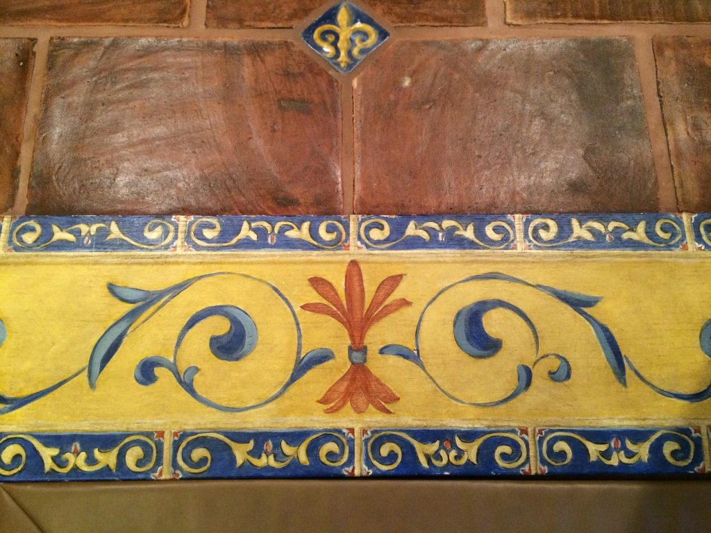 Painted Tile-faux-wine cellar- Scroll work
