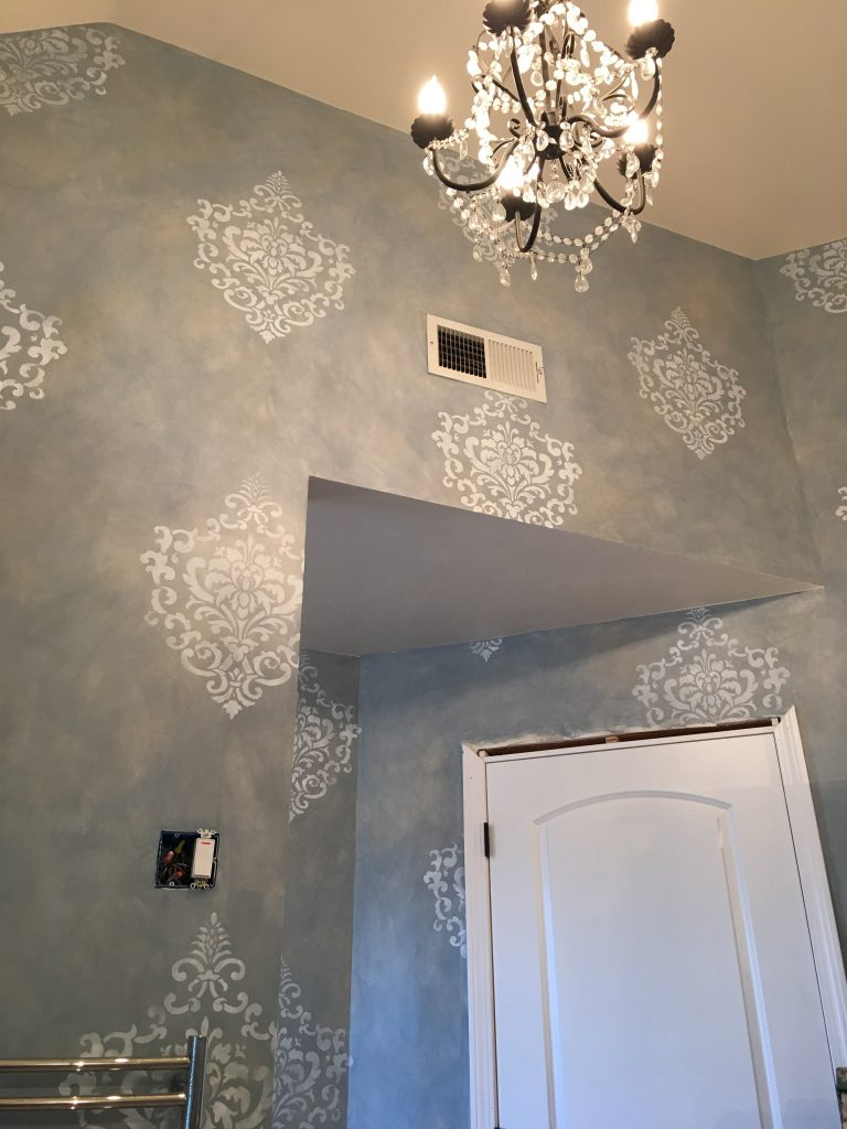 Blue Glaze - Bathroom walls - medallion accents
