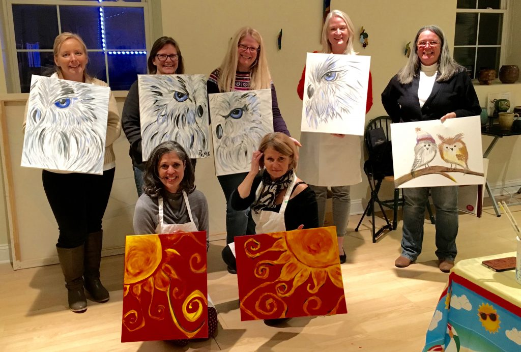 Owl painting- sun painting- paint party