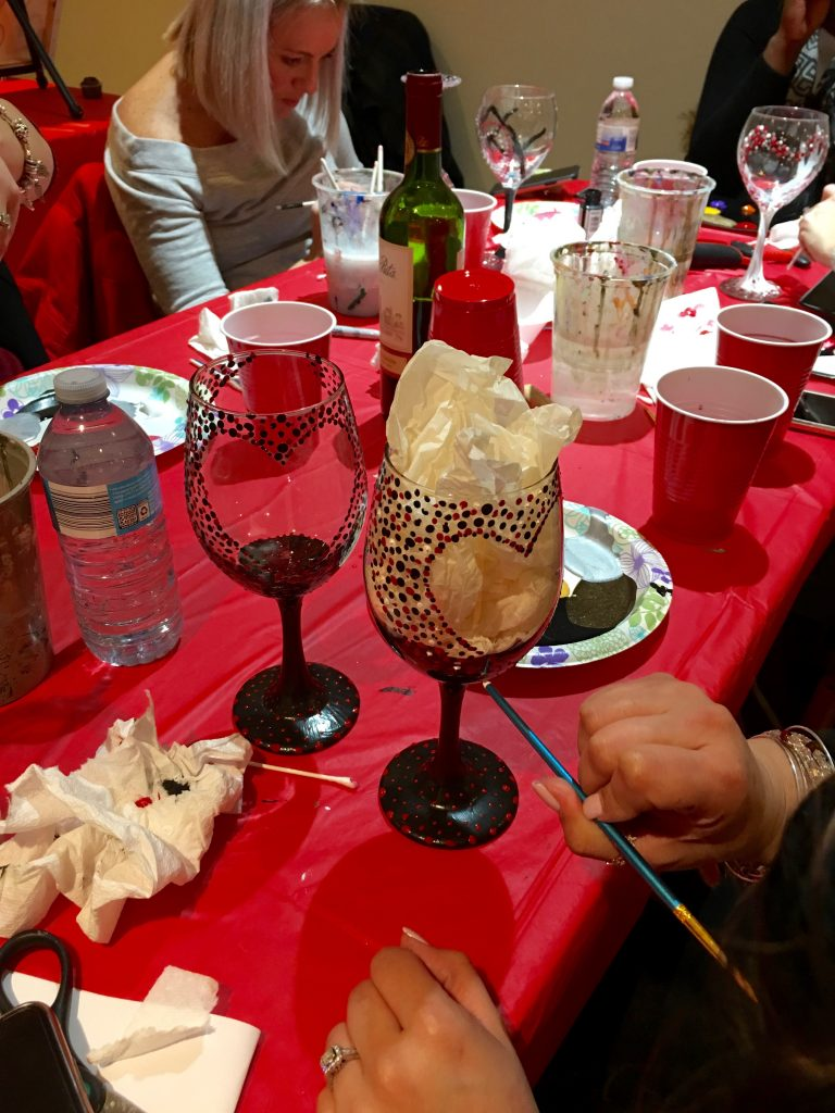Valentines Theme Painting Party, Painting wine glasses for  Valentines  Day