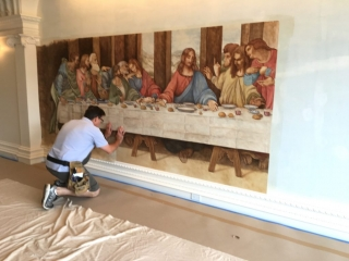 Installation Of Mural on Canvas