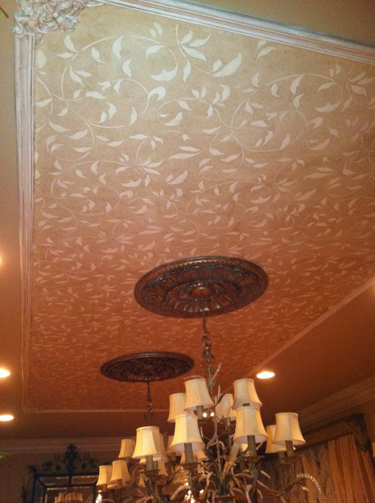 Dining Room Ceiling-Vine stencil- Architectural ceiling boxes