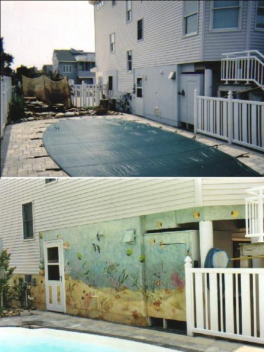Poolside mural- Under the sea Mural- Tropical fish painted