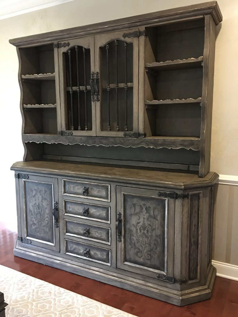 French linen- Chalk Paint-German Silver- Hand Painted  Accents
