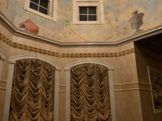Vaulted Ceiling mural- master bath Design ideas- Painted Sky- Painted urns