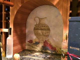 Wine Cellar Mural- Wine cellar wall- urn and grapes