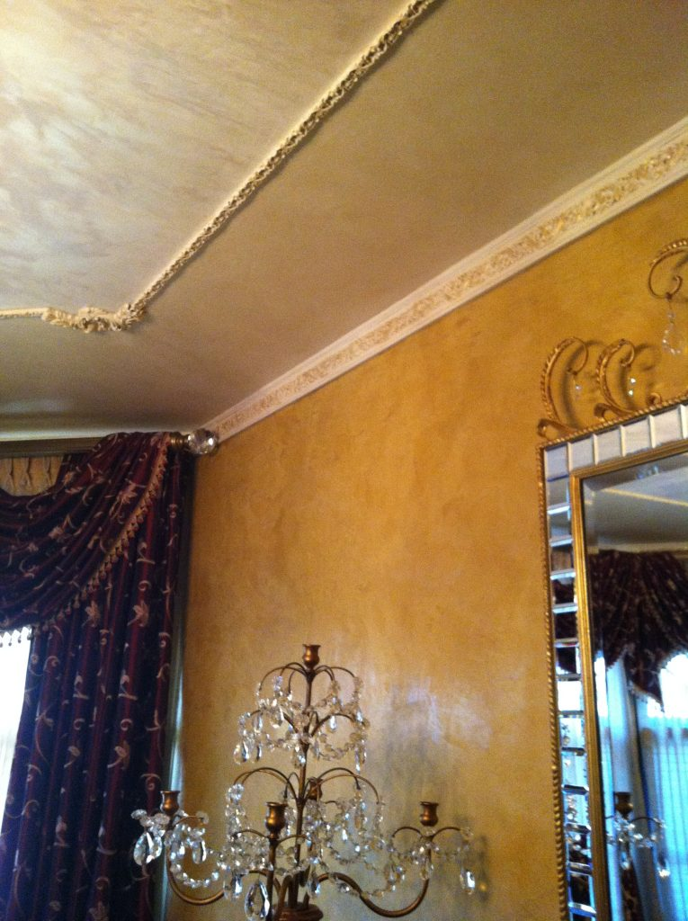 Mica powder- Venetian Plaster- Ceiling- Metallic plaster-Gold accents- metallic accents