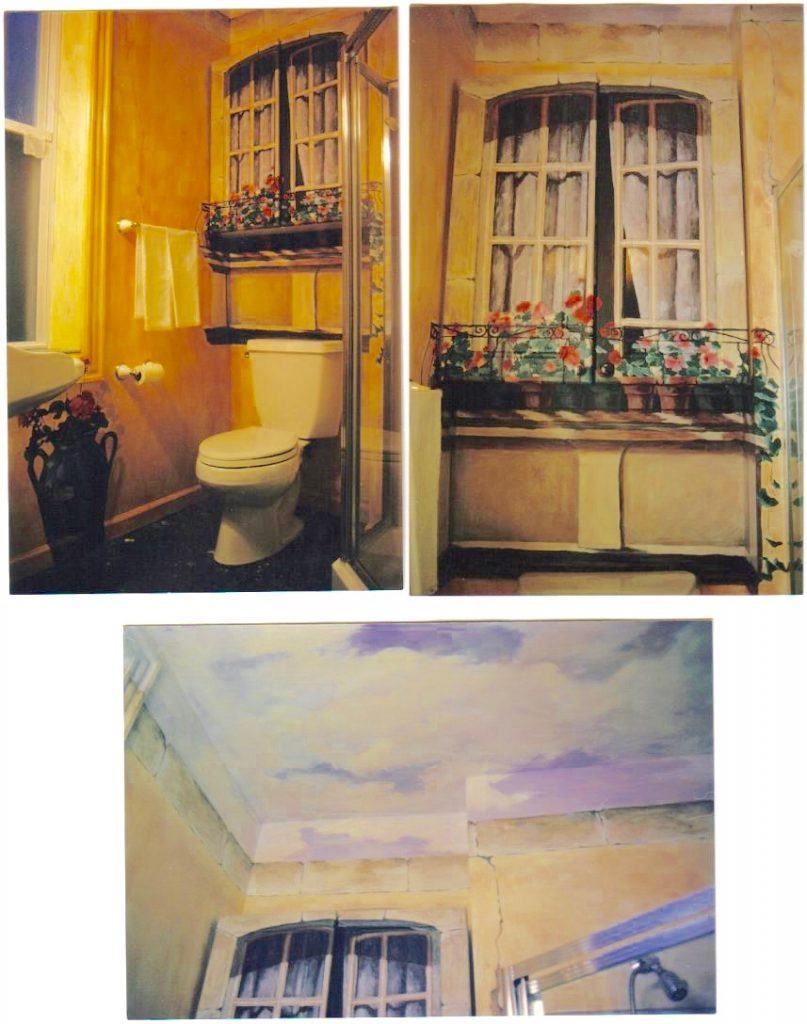 french country window- french country mural- bathroom mural-