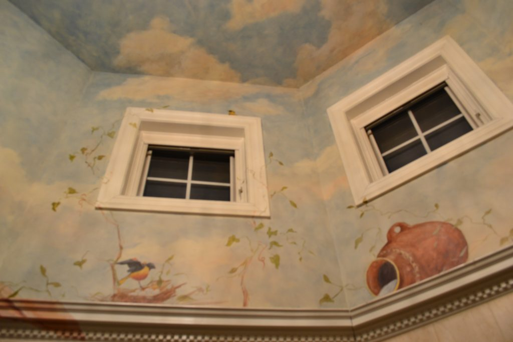 Master Bath mural- Vaulted Ceiling Mural-Painting of Urn - Painting of Sky on Ceiling